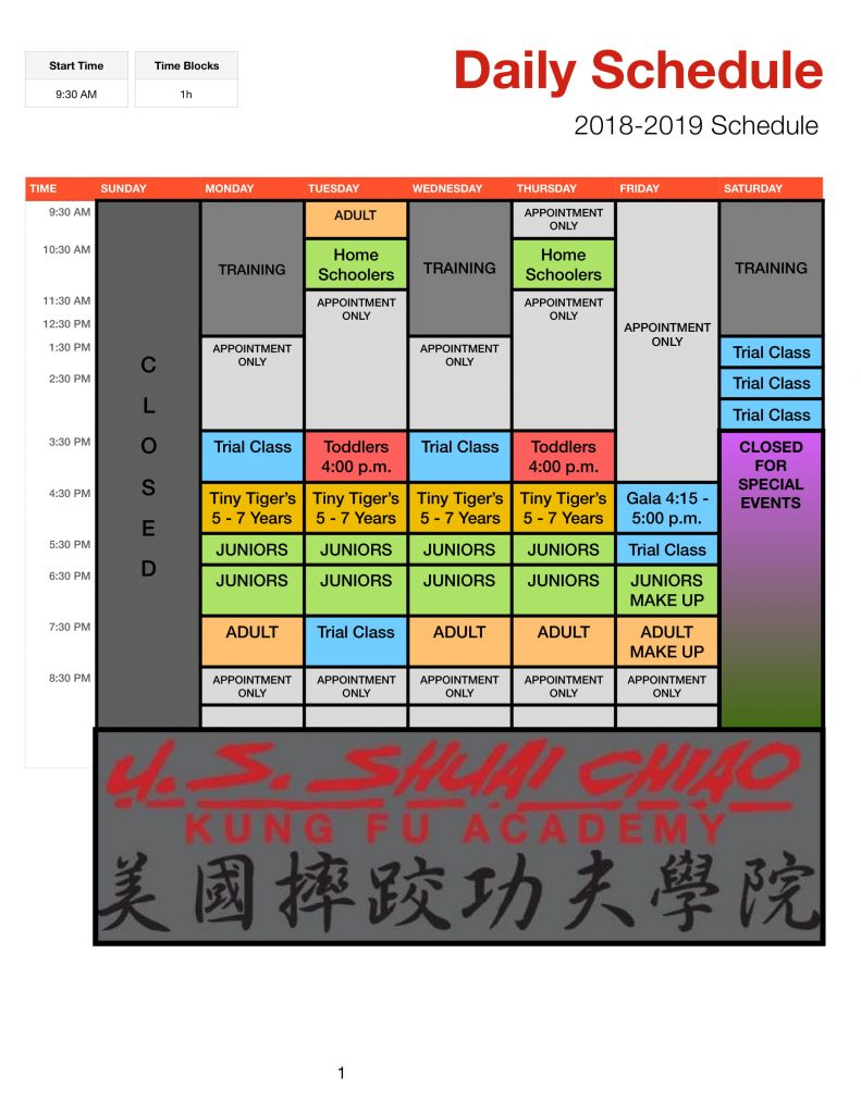 2018-2019 Karate Classes